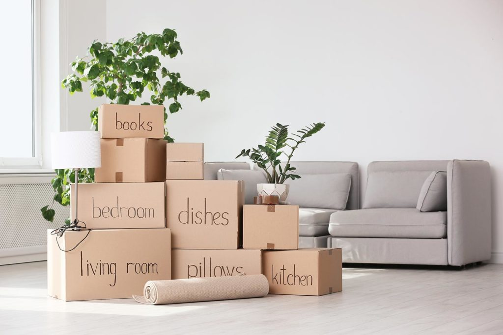 moving boxes labeled